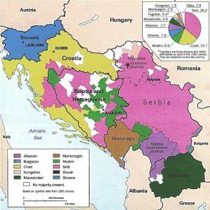 Χάρτης των εθνοτήτων με βάση την απογραφή του 1981. Οι περιοχές με σλαβική-μουσουλμανική πλειοψηφία απεικονίζονται με πράσινο (Πηγή: http://www.historyplace.com)