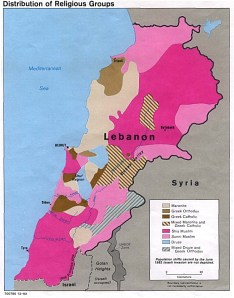 Θρησκευτικός χάρτης του Λιβάνου. ανοικτό ροζ = Σουνίτες σκούρο ροζ = Σιίτες μπεζ = Μαρωνίτες ανοικτό καφε = Ελληνορθόδοξοι σκούρο καφέ = Ελληνοκαθολικοί (Ουνίτες) Γαλάζιο = Δρούζοι Πηγή: www.lib.utexas.edu