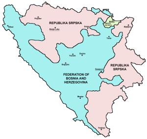 Χάρτης των σημερινών συνιστωσών της Βοσνίας-Ερζεγοβίνης (Πηγή: http://commons.wikimedia.org)