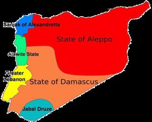 Η περιοχή Γαλλικής Εντολής, χωρισμένη σε πέντε κράτη. Το Σαντζάκι της Αλεξανδρέτας (μπλε) ανήκε αρχικά στο κράτος του Χαλεπίου (κόκκινο), δόθηκε όμως στην Τουρκία το .... Πηγή: en.academic.ru