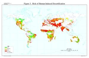 Κίνδυνος ανθρωπογενούς απερήμωσης (όσο πιο κόκκινος, τόσο πιο μεγάλος)