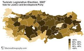 Τα ποσοστά του AKP στις εκλογές του 2007 ανά περιφέρεια. Η υπεροχή του στην κεντρική Ανατολία είναι εμφανής.
