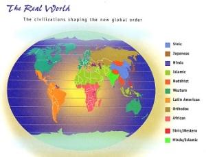 Οι πολιτισμικές περιοχές του κόσμου, κατά το Σάμιουελ Χάντιγκτον.