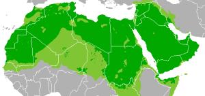 Η γεωγραφική εξάπλωση της αραβικής γλώσσας. Πηγή: world-of-languages.com/learn-arabic/