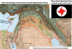Τα όρια της Μεγάλης Συρίας σύμφωνα με το Σ.Σ.Ε.Κ., το σύμβολο του οποίου απεικονίζεται πάνω αριστερά: η ομοιότητα με τη ναζιστική σβάστικα είναι εμφανής. Πηγή: http://www.geocurrents.info/geopolitics/greater-syria-and-the-challenge-to-syrian-nationalism