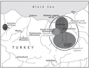 Οι περιοχές που ακόμα μιλιούνται μέχρι τις μέρες μας τα ρωμέικα. http://www.romeyka.org/the-romeyka-project/rediscovering-romeyka