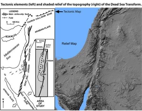 Το Ρήγμα Μετασχηματισμού της Νεκράς Θάλασσας, με την παράλληλη κίνηση των τεκτονικών πλακών Δεξιά το ανάγλυφο που σχηματίζεται ως συνέπεια στην επιφάνεια της Γης. http://woodshole.er.usgs.gov/project-pages/dead_sea/tectonic.html
