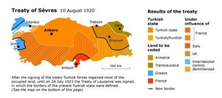 Η Συνθήκη των Σεβρών, με βάση την οποία μόνο το καθαρό πορτοκαλί τμήμα θα παρέμενε ως ανεξάρτητο τουρκικό κράτος. Τα υπόλοιπα εδάφη είτε θα παραχωρούνταν σε γειτονικά κράτη, είτε θα ανήκαν στις σφαίρες επιρροής δυτικών δυνάμεων (διαγραμμισμένα τμήματα). https://chronicle.fanack.com/turkey/history-past-to-present/emergence-of-the-turkish-state/