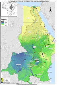 Χάρτης της λεκάνης απορροής του ποταμού Νείλου (καφέ όριο). Ο χρωματισμός αντιστοιχεί στην πραγματική εξατμισοδιαπνοή, που σ' αυτήν την περίπτωση είναι ένδειξη του πόσο βροχερό είναι το κλίμα (κίτρινο προς μπλε = χαμηλή προς ψηλή). http://www.nilebasin.org/index.php/about-us/the-river-nile