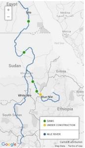Τα υπάρχοντα (πράσινες τελείες) και τα υπό κατασκευή (κίτρινες) φράγματα στο Νείλο. Το βορειότερο είναι το γνωστό φράγμα του Ασουάν, ενώ το νοτιότερο υπό κατασκευή Φράγμα της Αναγέννησης παρ' ολίγο να οδηγήσει σε πόλεμο Αιγύπτου-Αιθιοπίας. http://america.aljazeera.com/opinions/2014/2/egypt-disputes-ethiopiarenaissancedam.html