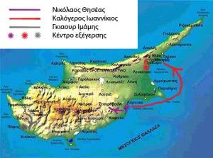Οι πορείες που ακολούθησαν οι τρεις εξεγέρσεις του 1833. Ο χάρτης που χρησιμοποιείται ως υπόβαθρο προέρχεται από εδώ.