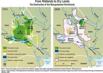 Το αποτέλεσμα της αποξήρανση των υγροτόπων από το Σαντάμ Χουσέιν. http://scribol.com/anthropology-and-history/the-marsh-arabs-of-iraq