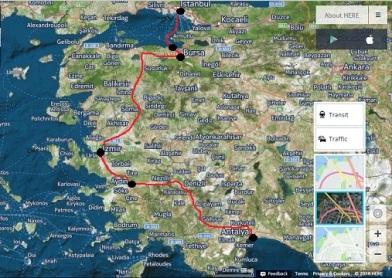 Η διαδρομή του ταξιδιού: Κωνσταντινούπολη-Μουδανιά-Προύσα-Σμύρνη-Αϊδίνιο-Αττάλεια.