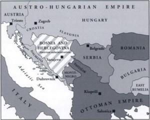 Ο χάρτης των Βαλκανίων όπως σχηματίστηκε μετά τη συνθήκη του Βερολίνου το 1878. Πηγή: Robert J. Donia, John Van Antwerp Fine, John V. A. Fine Jr.(1994): Bosnia and Hercegovina: A Tradition Betrayed.