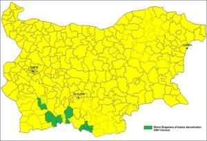 Περιοχές Μουσουλμάνων με βουλγαρική εθνικότητα (Πομάκοι), με βάση την απογραφή του 2001. Δεν είναι γνωστό πάντως αν κάποιος αριθμός Πομάκων προτίμησε να δηλώσει τουρκική εθνικότητα. https://en.wikipedia.org/wiki/File:Pomaks_map.png