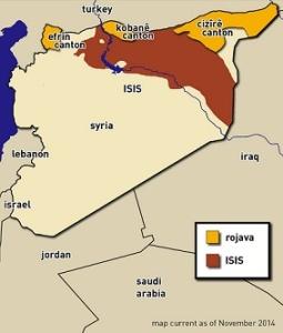 Τα τρία καντόνια της Ροζάβα: Αφρίν, Κομπάνε και Τζαζίρα. Ο χάρτης περιγράφει την κατάσταση πριν από ενάμιση χρόνο. Εν τω μεταξύ, το PYD έχει επεκτείνει την περιοχή του, ενώνοντας τα δυο ανατολικά καντόνια και ελέγχοντας το μεγαλύτερο τμήμα των τουρκο-συριακών συνόρων - κάτι ανησυχεί ιδιαίτερα την Τουρκία. http://www.tangledwilderness.org/wp-content/uploads/2015/03/rojavamap-colored.png