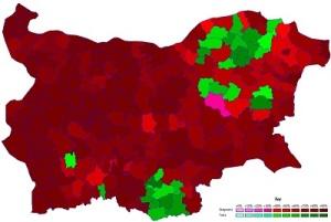 """Χάρτης της εθνικής σύνθεσης της Βουλγαρίας (καφέ: Βούλγαροι, πράσινο: Τούρκοι), με βάση την απογραφή του 2011. """"Ethnic composition of Bulgaria, 2011"""" by Kostja2 - Own work, based on the results of the 2011 census. Licensed under CC BY-SA 3.0 via Commons - https://en.wiki2.org/wiki/File:Ethnic_composition_of_Bulgaria,_2011.PNG#/media/File:Ethnic_composition_of_Bulgaria,_2011.PNG"""
