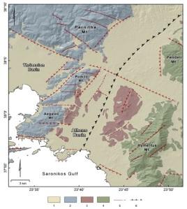 Απλοποιημένος Γεωλογικός Χάρτης του Λεκανοπεδίου. 1 (κίτρινο): μεταλπικά ιζήματα 2 (μπλε): μη μεταμορφωμένα πετρώματα 3 (κόκκινο): αλλόχθονο σύστημα (σχιστόλιθος Αθηνών) 4 (πράσινο): μεταμορφωμένα πετρώματα 5: κύρια ρήγματα 6: μεγάλης κλίμακας τεκτονική επαφή. Πηγή: Michael Foumelis, Ioannis Fountoulis, Ioannis D. Papanikolaou, Dimitrios Papanikolaou (2013): Geodetic evidence for passive control of a major Miocene tectonicboundary on the contemporary deformation field of Athens(Greece). In: ANNALS OF GEOPHYSICS, 56, 6, 2013, S0674; doi:10.4401/ag-6238