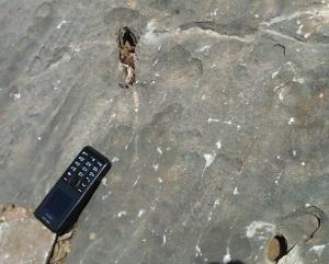 Μικροκαρστικά φαινόμενα: δακτυλογλυφές (κυρίως πάνω αριστερά) καθώς και μεγαλύτερες τρύπες που σχηματίστηκαν μέσω της χημικής διάλυσης του ασβεστολίθου από το νερό.