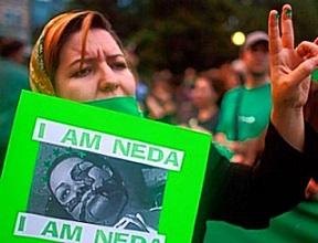 Η 26χρονη φοιτήτρια Νεντά Αγά Σολτάν σκοτώθηκε από πυροβολισμό στις διαδηλώσεις και έγινε σύντομα σύμβολο του κινήματος. http://www.frontpagemag.com/fpm/63062/green-revolution-isnt-over-ryan-mauro