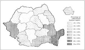 Ποσοστό της κολλεκτιβοποιημένης γης στη Ρουμανία το 1958. Πηγή: Iordachi & Bauerkamper (2014).
