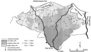Η αλάτωση του εδάφους αυξάνεται έντονα στο βόρειο και χαμηλότερο τμήμα του Δέλτα του Νείλου, το πιο κοντινό στη θάλασσα. Πηγή: Kotb et al (1999).