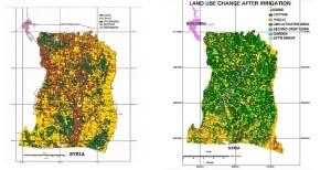 Η αλλαγή της χρήσης γης στην πεδιάδα Χαράν μετά την εφαρμογή του προγράμματος GAP: πράσινο = βαμβακοκαλλιέργεια, κίτρινο = σιτηρά, καφέ = ακαλλιέργητες εκτάσεις. Πηγή: Kapur et al (2009).