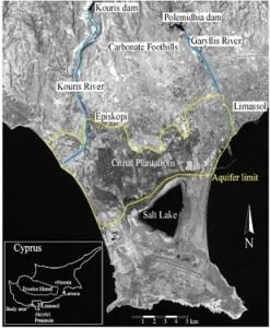 Τα όρια του υδροφορέα του Ακρωτηρίου, του τρίτου μεγαλύτερου στην Κύπρο. Πηγή: