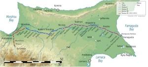 Η διαδρομή και οι στάσεις του Κυπριακού Σιδηρόδρομου, στην πλήρη του ανάπτυξη, με ένα συνολικό μήκος 122 χλμ. (από το Μουσείο Κυπριακού Σιδηρόδρομου). Ήταν επιλεγμένες με τέτοιο τρόπο, ώστε να εξυπηρετούν και ελληνοκυπριακές και τουρκοκυπριακές περιοχές. https://upload.wikimedia.org/wikipedia/commons/6/65/Map_of_Cyprus_Government_Railway.svg