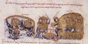 Εικόνα από μάχη ανάμεσα στους Σαρακηνούς της Κρήτης και τους Βυζαντινούς. Το Εμιράτο της Κρήτης έζησε από το 824/27 μέχρι το 961. Οι Σαρακηνοί ήταν αυτοί που ίδρυσαν την πόλη του Χάνδακα (το σημερινό Ηράκλειο), κάνοντας την πρωτεύουσα του νησιού και ασφαλές ορμητήριο για την πειρατεία στο Αιγαίο. https://commons.wikimedia.org/wiki/Chapters_of_the_Madrid_Skylitzes